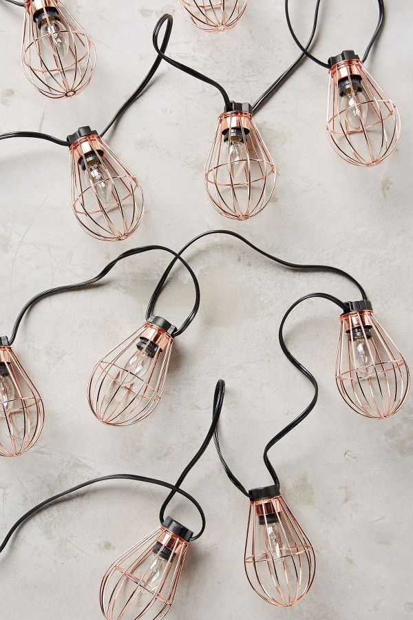 Anthropologie String Lights Copper : Caged Bulb String Lights Anthropologie